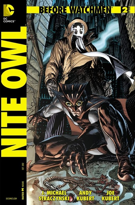 Nite Owl #2. Rorschach and Nite Owl continue patrolling the streets, but after chasing a villain, enter a room where perverted sex acts are underway. Before Rorschach can beat the dominatrix, Nite Owl knocks him down and the two split up. The issue t