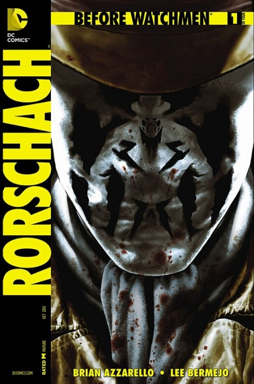 Rorschach #1. The intro story for the faceless hero as he prowls, searching for a murderer known as The Bard. After beating a drug dealer nearly to death, he heads into the sewers only to find out it's a setup meant to lure him into a trap. The Bard