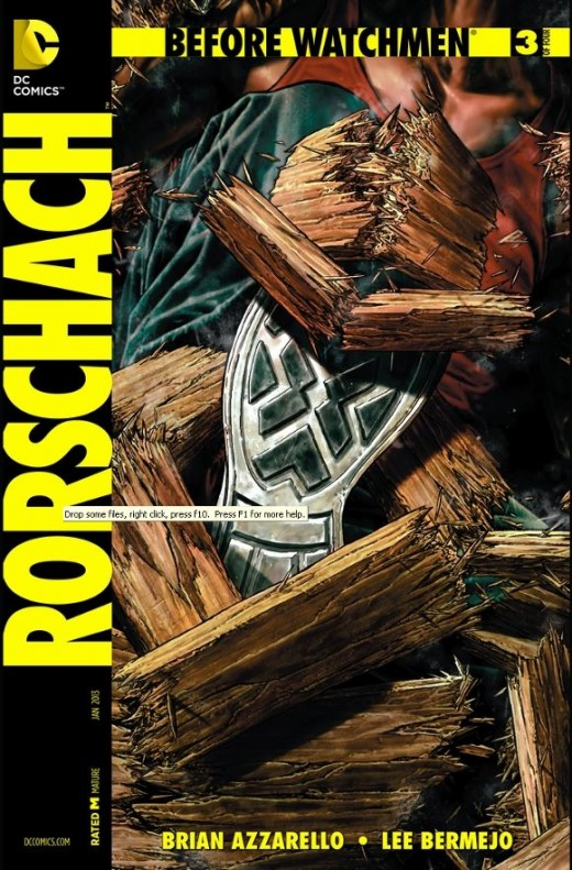 Rorschach #3. The ambushers barge in on Rorschach during his interrogation, but he's ready. Throwing a gas canister, he quickly starts a counter-attack. He escapes through the window and gets away. Later, in his secret identity, Walter decides to pay