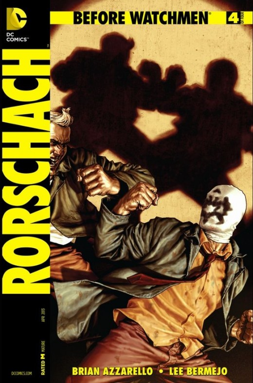 Rorschach #4. Last issue. Captured during a blackout, Rawhead takes Rorschach's mask and leaves him to be killed. The villain gets high-minded to do some vigilante justice. But before Rorschach can be tortured, the freed tiger jumps the henchman hold