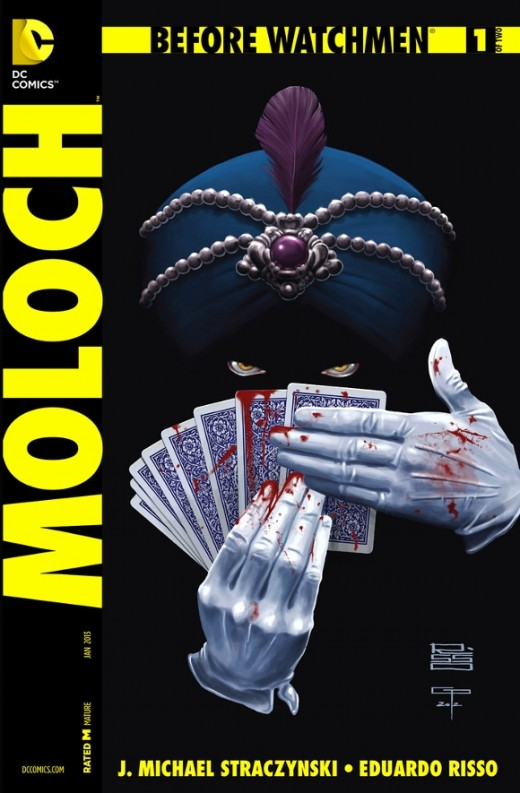 Before Watchmen: Moloch #1. Edgar Jacobi, from prison, makes a confession before his parole, and tells the priest his life's story, from the abuse as a disfigured child, to his love of stage magic, to when he used it for profit, and then crime, until