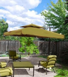 "Southern Patio 8'6"" Offset Umbrella with Netting and Solar Lights"
