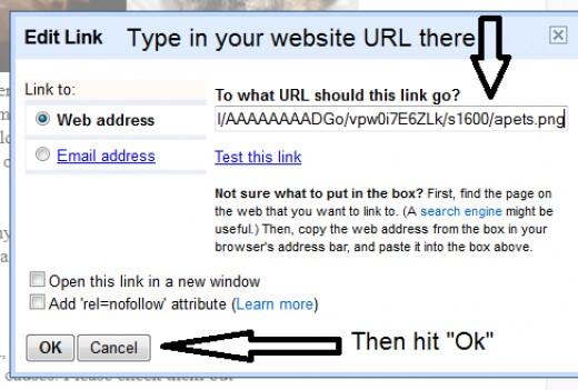 Enter your URL then click OK.