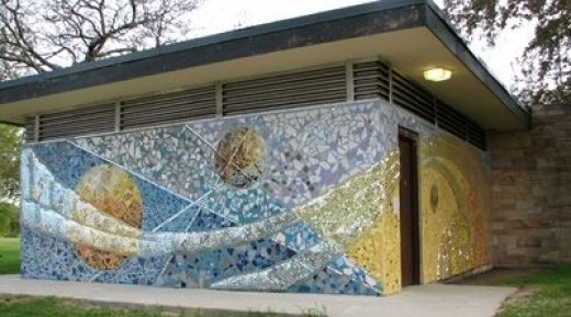 new mosaic covering the old bathrooms at hollywood beach also known as osterman beach