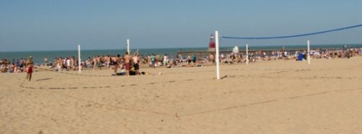 The volleyball nets at Hollywood Beach in Chicago