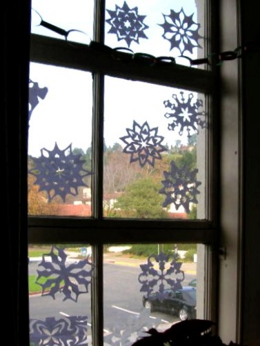 Window with Paper Snowflakes