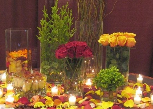 red and yellow roses wedding centerpiece idea