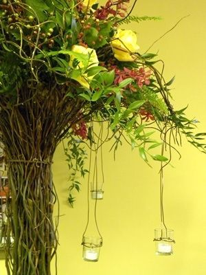 red and yellow wedding centerpiece