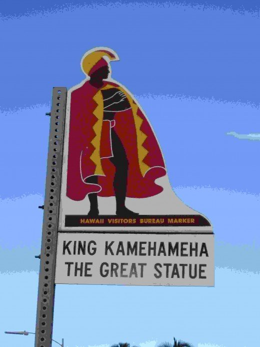 Sign at Entrance to Park,  with Statue of the Great King Kamehameha, across from Hilo Bay in Hilo, Hawaii