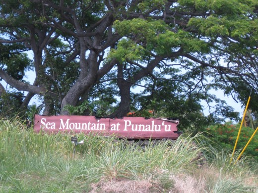 Sign at entrance to  new Sea Mountain Resort at Panalu'u, Hawaii