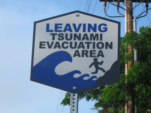 Sign announcing entry on to high ground outside of tsunami range - if you make it here you should be safe in the event of a tsunami