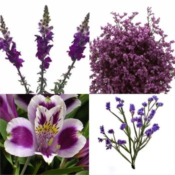 Some wholesale flower sellers provide filler 'packs' of flowers you can use to add color to arrangements and bouquets. Add them to white or purple flowers, or simply add them to greenery.