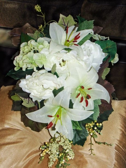 A home Made silk wedding bouquet