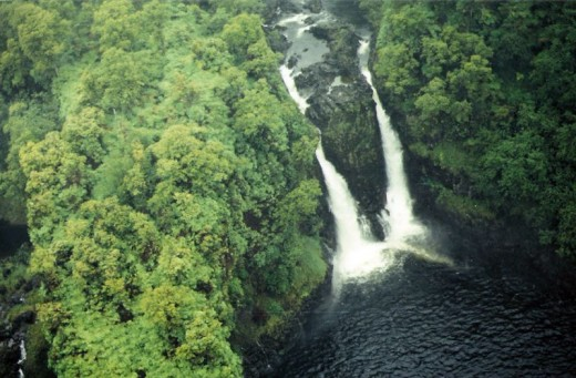 Double Waterfall on the Big Island (from a helicopter)