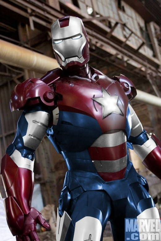 The Iron Patriot armor has showed up on set. You might remember it from the Dark Reign saga.