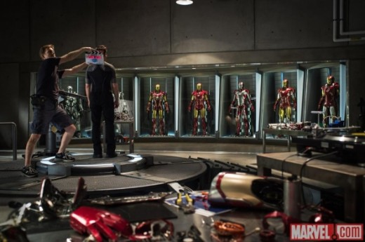 A backstage photo of the Iron Man 3 armory.
