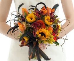 Lovely fall bouquet of sunflowers from events rental