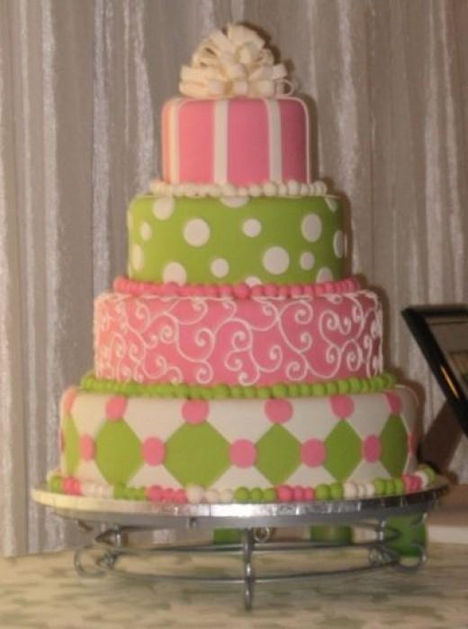 Pink and Green Polka Dot Wedding Cake in Fondant