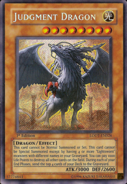 Judgement Dragon from the YuGiOh! Trading Card Game