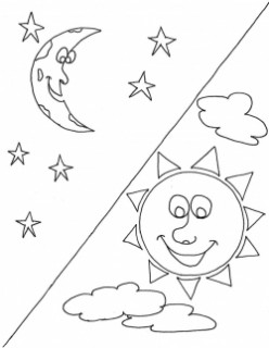 Sun and Moon coloring pages!!