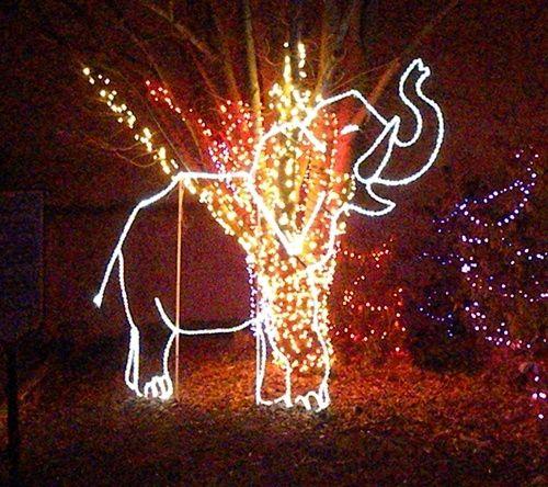 Lighted baby elephant.