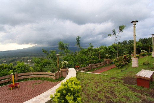 On Lignon Hill - with the obscured Mt. Mayon