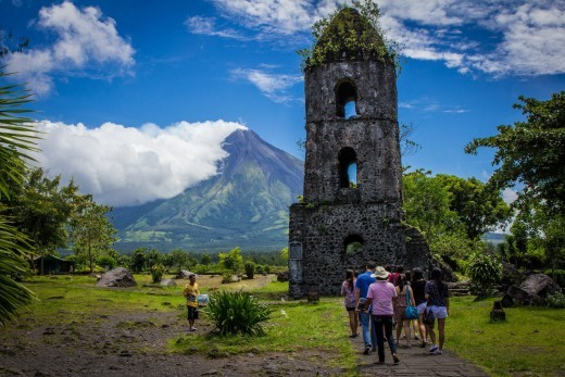 The Cagsawa Ruins and Mt. Mayon