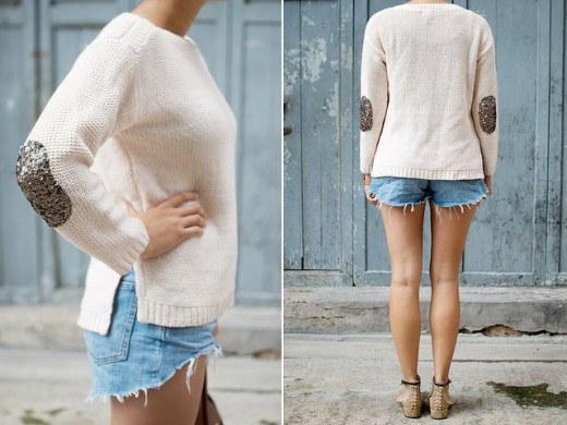 Sweater with sequin patched elbows