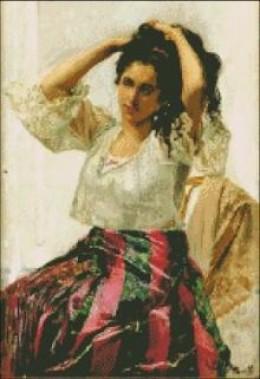 """Una Mestiza"" (A Mestiza) painting by Juan Luna, a Filipino hero, circa 1887."