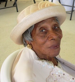 Mrs. Louise Isaac, age 99 in this picture, turned 100 in 2014 with memory in tact.