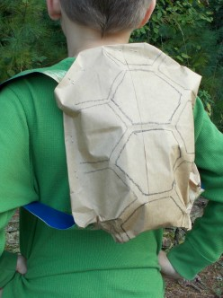 Kids gain turtle power with a homemade costume turtle shell