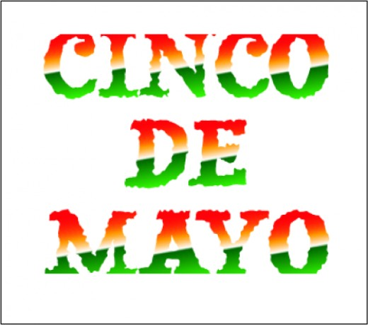 Cinco de Mayo word art with specialty color fill