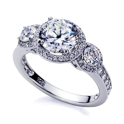 Platinum Plated Sterling Silver Engagement Ring
