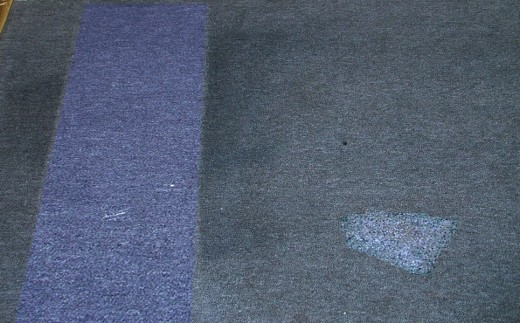 Redye bleach spots and Restoring carpet in Southport Australia on a denim carpet year 2000