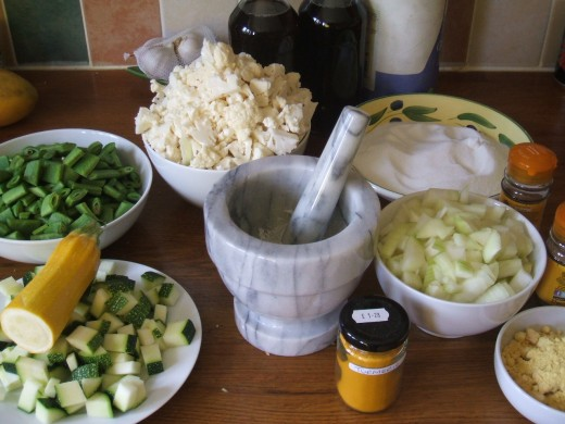 Chopped vegetables ready for pickling.