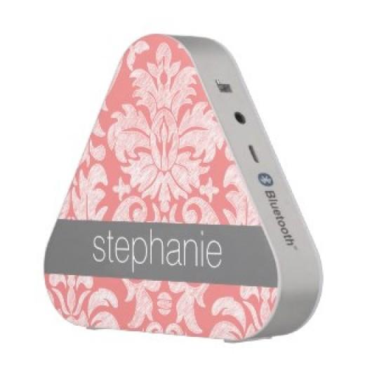 Customized Pretty Lace Damask Pattern Coral Gray Bluetooth Speaker
