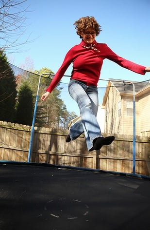 Jumping on a trampoline builds muscle and burns fat.