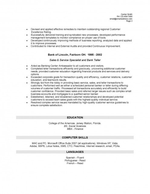 resume template bank teller resume template