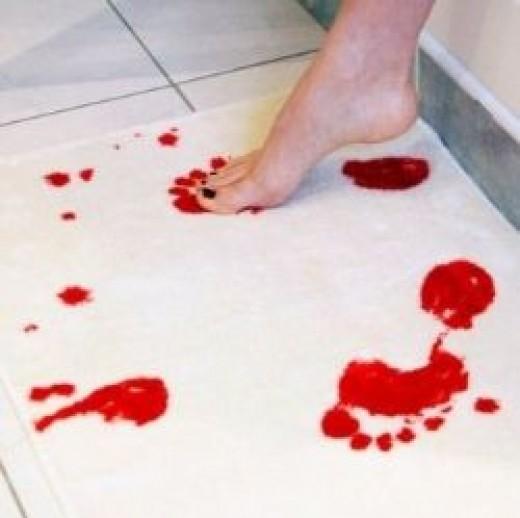 Bloody bath mat