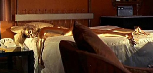 Jill Masterson (Shirley Eaton) murdered in this classic image