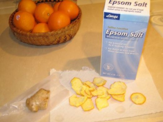 orange peels with epsom salt