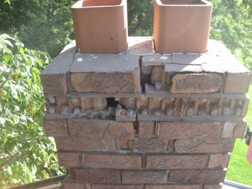 Flue Tile are too high Chimney cap is cracked Shell of chimney is damaged