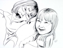 Charcoal on paper.  This one is a charcoal caricature of my nieces, Kayla and Jessica drawn from photo reference.