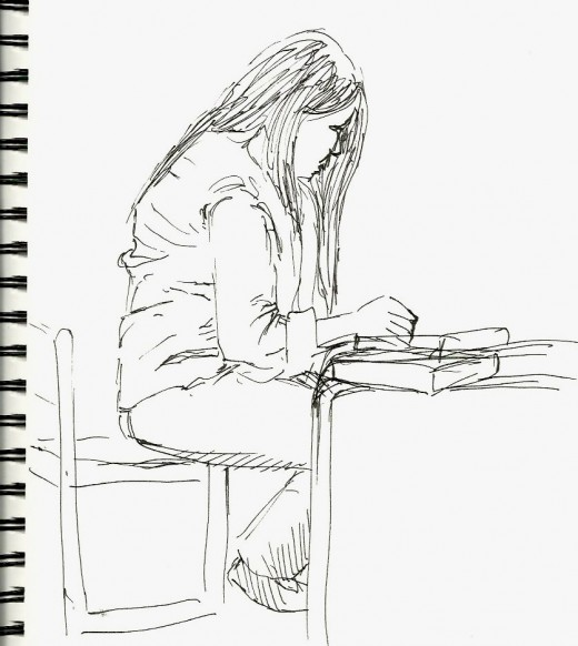 Library sketch in Dallas TX while visiting my son.