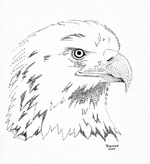 Eagle head inked with dots.