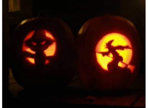 Glowing, Carved Pumpkins