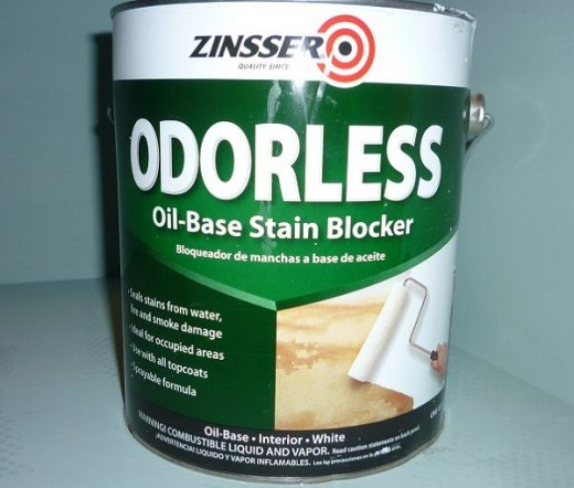 I applied a thin coat of odorless oil-based stain blocker over problem areas.