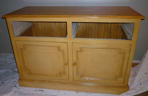 'Before' china cabinet buffet. The door detail is wonderful!