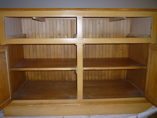 'Before' china cabinet buffet interior.  The handmade beadboard back is even found on the inside back!