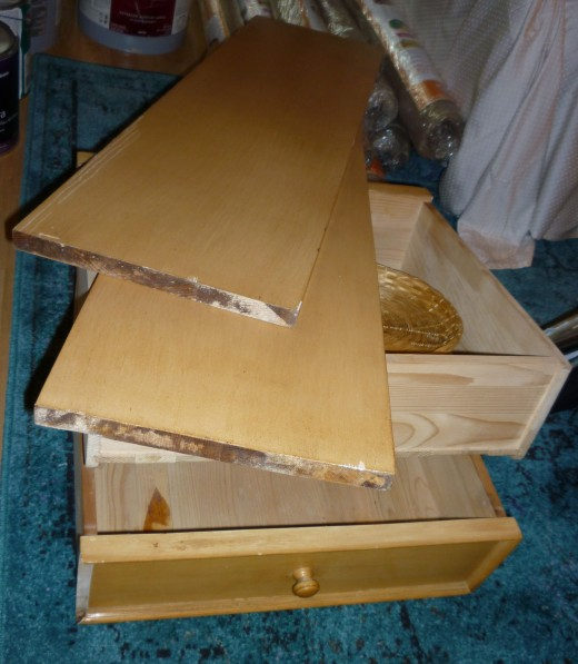 'Before' china cabinet drawers and shelves.  Two shelves for the hutch and one for the buffet.